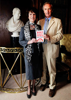 Duke and Duchess with prizewinning book Wolf Hall